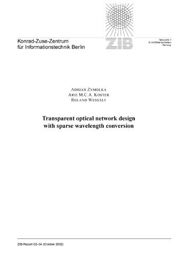Transparent optical network design with sparse wavelength ... - ZIB