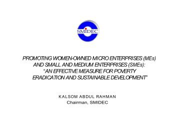 PROMOTING WOMEN-OWNED MICRO ENTERPRISES (MEs) AND ...