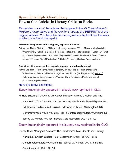 how to cite the contemporary literary criticism   byram
