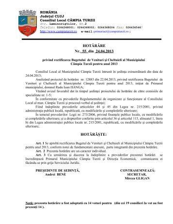 HCL nr.55 din 24 Aprilie 2013 privind rectificarea Bugetului de ...