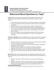 Behavioral Based Questions by Topic 1 - The Graduate College at ...