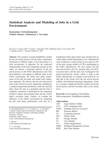Statistical Analysis and Modeling of Jobs in a Grid ... - Phosphorus