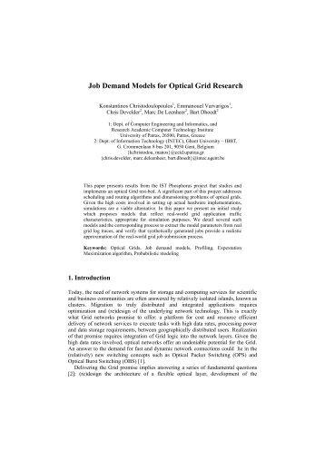 Job Demand Models for Optical Grid Research - Phosphorus