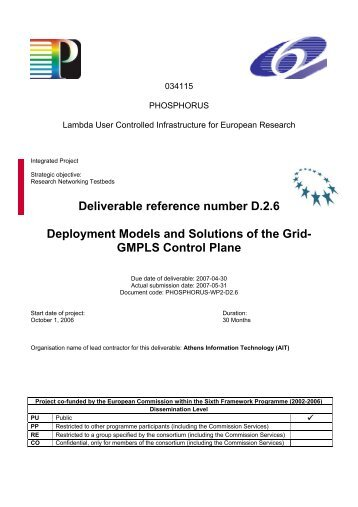 Deployment Models and Solutions of the Grid-GMPLS ... - Phosphorus