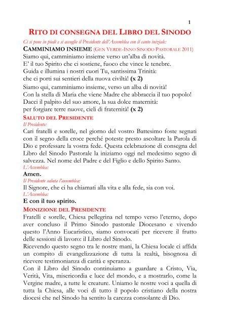 rito di consegna del libro del sinodo - Diocesi Altamura - Gravina ...