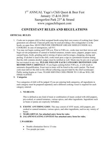 CONTESTANT RULES AND REGULATIONS - Galveston