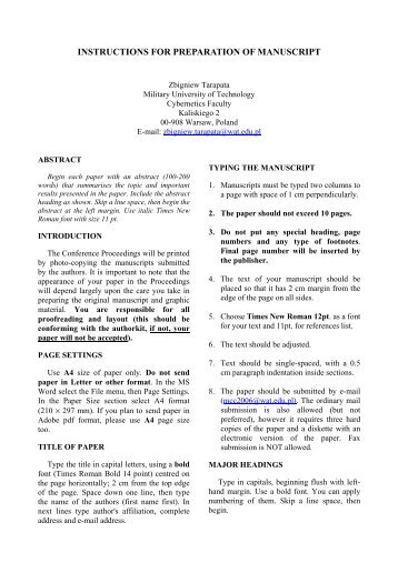 Template For Submitting Manuscript Title Of Paper Times New ...