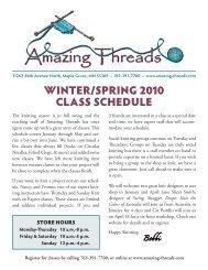WINTER/SPRING 2010 CLASS SCHEDULE - Amazing Threads.
