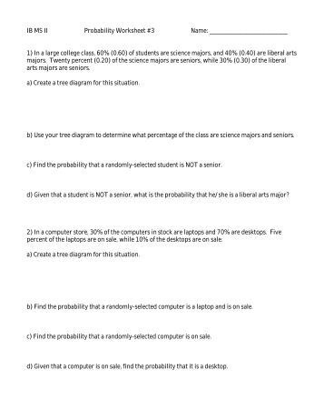 Worksheets Probability And Odds Worksheet probability worksheet ib ms ii 3 name 1 in a large college class
