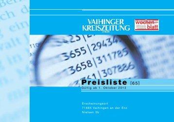 Aktuelle Anzeigenpreisliste - Vaihinger Kreiszeitung