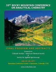 53rd Rocky Mountain Conference on Analytical Chemistry