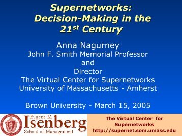 decision-making - The Virtual Center for Supernetworks - University ...