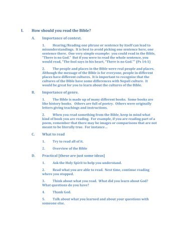 I. How should you read the Bible? - World Wide Open