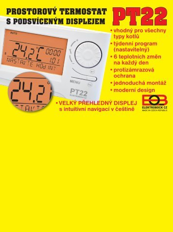 pt22 prostorový termostat s podsvíceným displejem - Elektrobock