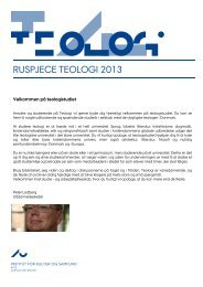 RUSPJECE TEOLOGI 2013 - For Studerende - Aarhus Universitet