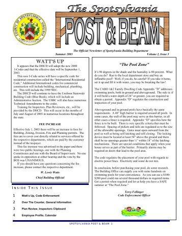 Summer 2003 Post and Beam Newsletter - Spotsylvania County