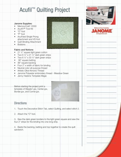 Project Instructions - Janome