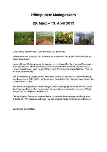 zu den Details der geplanten Madagaskar Reise 2013 - Luzern