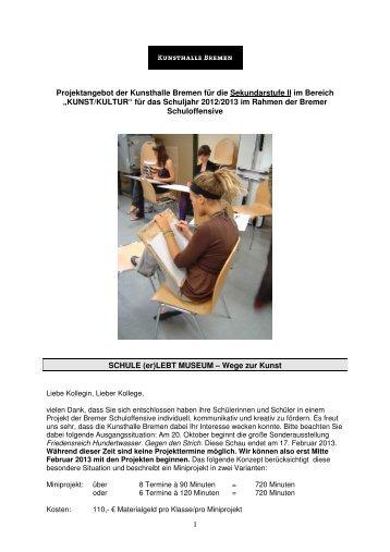 Projektangebot der Kunsthalle Bremen für die Sekundarstufe II im ...
