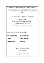the impact of establishing tuberculosis - College of Medicine