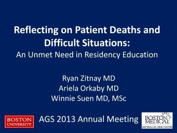 Reflecting on Patient Deaths and Difficult Situations: - American ...