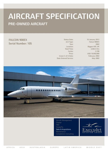 AIRCRAFT SPECIFICATION ExecuJet Aviation Group