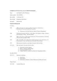 CV J H van der Westhuizen - University of the Free State