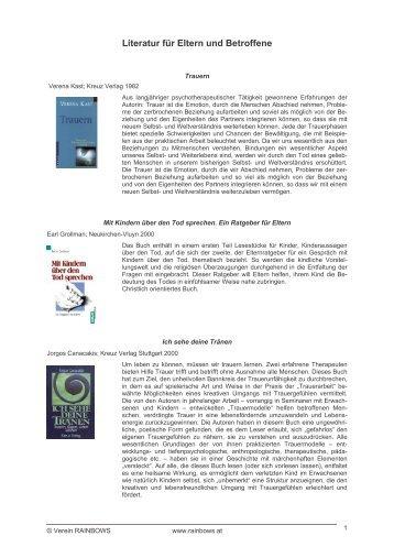 Literatur für Eltern und Betroffene - Rainbows