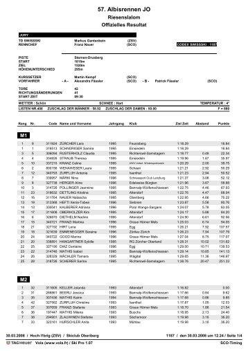 57. Albisrennen JO - Skiclub Oberiberg