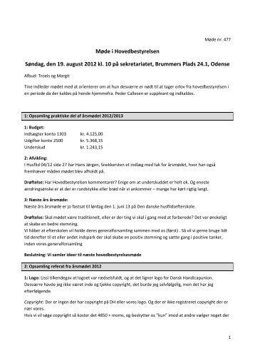 Møde i Hovedbestyrelsen Søndag, den 19. august 2012 kl. 10 på ...