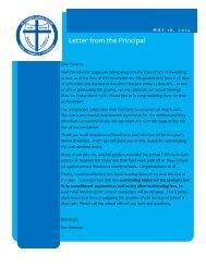 Letter from the Principal - St. Joseph Catholic Faith Community