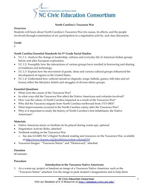 North Carolina's Tuscarora War - Database of K-12 Resources