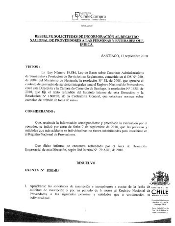 Resolución Proveedores Inscritos Agosto 2010 - Chileproveedores