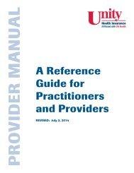 Provider Manual - Unity Health Insurance