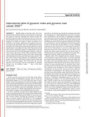 Glycemic Index (Gi) And Glycemic Load (Gl   - Lionel Gonnet