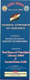 NSA 2008 - Workshop on Quieter Technologies, 22-24 Dec ... - DRDO