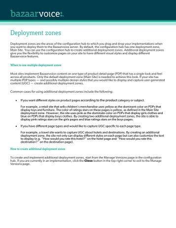 Deployment zones - Conversations - Bazaarvoice