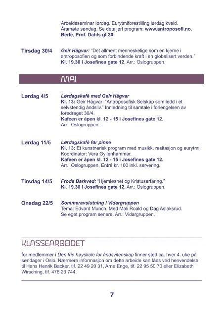 VÅRPROGRAM - Antroposofisk Selskap i Norge