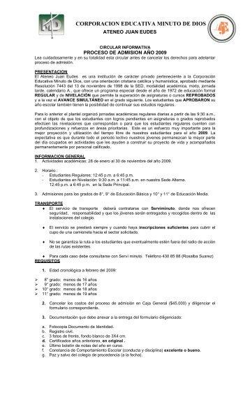 CORPORACION EDUCATIVA MINUTO DE DIOS - Colegio Minuto ...