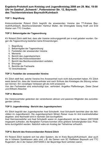 Protokoll zur Kreistagssitzung vom 29.05.2008 - Bayreuth