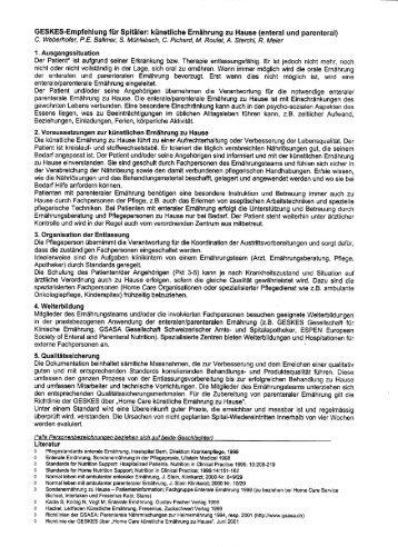 GESKES-Empfehlung für Spitäler: künstliche Ernährung zu Hause ...