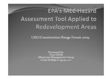 MEC HA for Redevelpment, Webb 2009 - Munitions Response ...