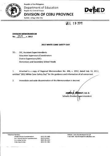 Memo No. 319 S. 2012 - DepEd Cebu Province