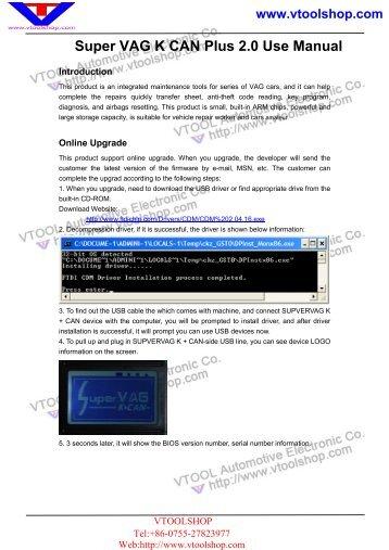 Super Vag K Can Plus 2.0.pdf - Car Diagnostic Tool