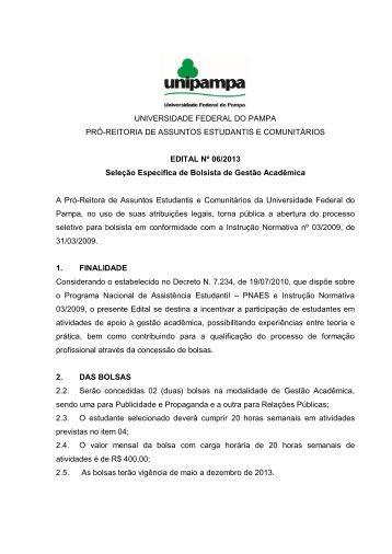 UNIVERSIDADE FEDERAL DO PAMPA PRÓ-REITORIA DE ...