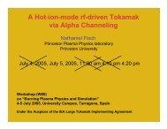 A Hot-ion-mode rf-driven Tokamak via Alpha Channeling - EFDA