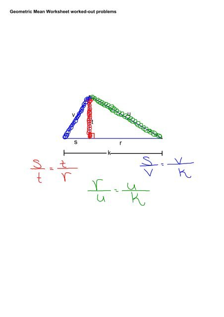 Geometric Mean Worksheet worked-out problems - GEOMETRY