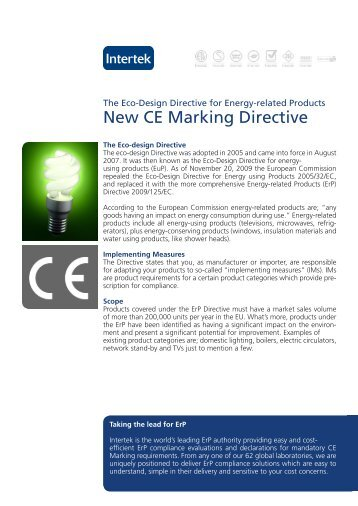 New CE Marking Directive - Intertek