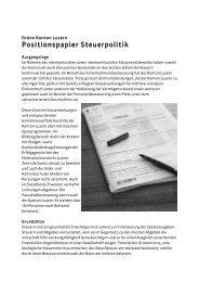 Positionspapier Steuerpolitik - Grüne Luzern