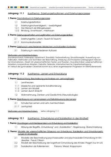 Lehrplan Erziehungswissenschaften Grund - Gesamtschule ...